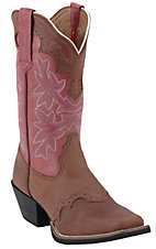 Tony Lama® 3R Series™ Ladies Walnut Brown & Red Saddle Vamp Square Toe Western Boots