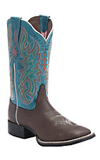 Tony Lama 3R Women's Chocolate Darby with Teal Wescott Top Square Toe Western Boot