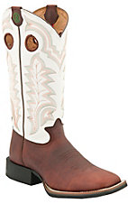 Tony Lama 3R Series Men's Redwood Brown w/ White Top Double Welt Square Toe Boots