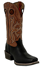 Tony Lama 3R Series Mens Black w/Rust Double Welt Punchy Square Toe Western Boot