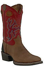 Tony Lama® 3R Series™ Men's Walnut with Ruby Red Double Welt Square Toe Western Boots