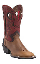 Tony Lama 3R Series Men's Walnut Blaze w/ Chili Westcott Top Double Welt Square Toe Boots