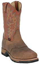 Tony Lama TLX Men's Antique Brown w/ Acorn Saddle Vamp Square Toe Work Boots