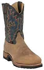 Tony Lama TLX Men's Distressed Coffee with Black Square Steel Toe Work Boots