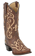 Tony Lama Ladies Brown with Cream Inlay Earth Santa Fe Vaquero SnipToe Western Boots