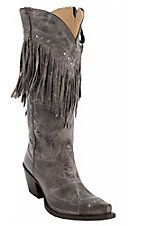 Tony Lama® Vaquero™ Women's Distressed Chocolate w/Fringe Snip Toe Western Boots