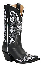 Tony Lama® Vaquero™ Ladies Black Vail Flower Garden Embroidered Snip Toe Western Boot
