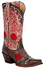 Tony Lama® Vaquero™ Ladies Moka Brown w/Berry Floral Tooled Top Snip Toe Western Boot