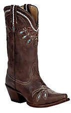 Tony Lama�Vaquero?Ladies Chocolate Rancho w/Cleopatra Stitch Snip Toe Western Boot