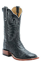 Tony Lama Men's Black Full Quill Ostrich Exotic Square Toe Western Boots