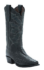 Tony Lama Men's Black Full Quill Ostrich Narrow Square Toe Exotic Western Boots