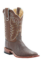 Tony Lama Men's Coffee Brown Smooth Ostrich Exotic Square Toe Western Boots