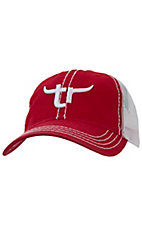 Team Roper® Mens Red w/ White Embroidered Logo Mesh Back Cap