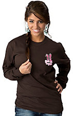 Girlie Girl® Women's Chocolate Brown A Whole Lotta Trouble Long Sleeve Tee