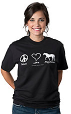 Moss Brother® Horses Unlimited™ Black Peace, Love, Happiness Short Sleeve Tee