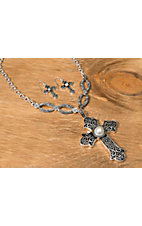 Wear N.E. Wear® Silver Antiqued Chain with Pearl Cross Pendant Jewelry Set