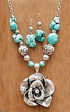 Wear N.E. Wear® Large Silver Rose w/ Silver Beads & Turquoise Jewelry Set