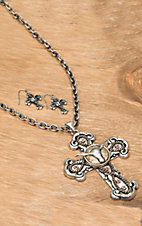 Wear N.E. Wear® Silver Cross w/ Longhorn Jewelry Set
