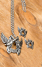 Wear N.E. Wear® Silver Winged Horseshoe w/ Crossed Pistols and Crystals Jewelry Set