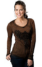 Velvet Stone® Juniors Brown and Black Winged Cross with Rhinestones Long Sleeve Tee