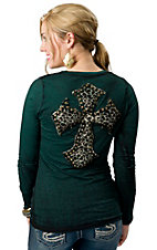 Velvet Stone® Juniors Distressed Forest Green with Leopard Studded Cross on Back Long Sleeve Tee