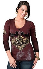 Velvet Stone® Juniors Maroon with Velvet Winged Cross and Rose Logo V-Neck Long Sleeve Tee