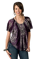 Ethyl® Women's Purple and White with Black Leopard Print Short Sleeve Fashion Top