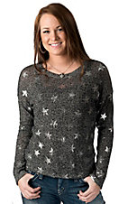 Vintage Havana® Women's Black & Grey Silver Foil Star Print Long Sleeve Sweater Knit Fashion Top