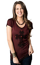 Velvet Stone® Juniors Maroon and Black Cross with Red Rhinestones V-Neck Short Sleeve Tee