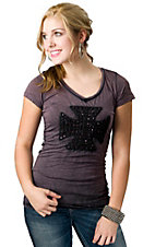 Velvet Stone® Juniors Distressed Plum Scroll Cross with Rhinestones V-Neck Short Sleeve Tee