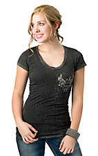 Velvet Stone® Juniors Gray Winged Crown Roses and Script with Rhinestones V-Neck Short Sleeve Tee