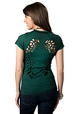 Velvet Stone® Juniors Dark Green Lattice Cut-Out Wings Short Sleeve Tee