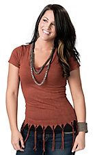 Velvet Stone® Women's Burnt Orange Fringe V-Neck Short Sleeve Tee