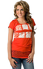 Velvet Stone® Juniors Tie Dye Orange Cross with Rhinestones V-Neck Short Sleeve Tee