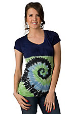Velvet Stone® Juniors Navy and Lime Green Tie Dye with Cut Out Ladder Back Short Sleeve Tee