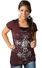Velvet Stone® Womens Maroon with White Rose Cross Short Sleeve Tee