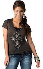 Velvet Stone® Womens Mudslide Distressed Brown Cheetah Cross with Studs Short Sleeve Tee