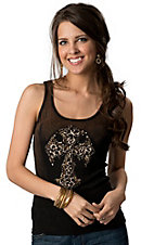 Velvet Stone® Juniors Brown and Black Ombre with Leopard Cross and Crystals Sleeveless Tank