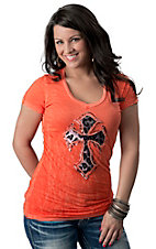 Velvet Stone® Juniors Orange with Snow Leopard Cross Short Sleeve Tee