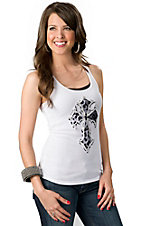 Velvet Stone® Juniors White with Snow Leopard Cross and Crystals Sleeveless Tank