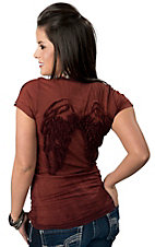 Velvet Stone® Juniors Paprika Burnt Orange Ombre Wings V-Neck Short Sleeve Tee