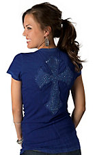 Velvet Stone® Juniors Blue with Abalone New Cross and Rhinestones on Back Short Sleeve Tee