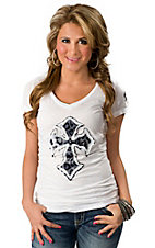 Velvet Stone® Juniors White w/ Snow Leopard Cross V-Neck Short Sleeve Tee