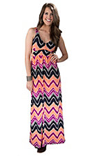 Ocean Drive Women's Orange & Fuchsia Chevron Print Open Back Sleeveless Maxi Dress
