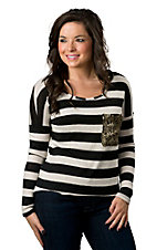 Vintage Havana® Women's Black and White Striped with Gold Sequin Pocket Long Sleeve Fashion Top