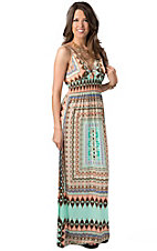 Vintage Havana® Women's Mint, Peach and Brown Aztec Print Tank Maxi Dress
