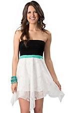 Ocean Drive® Women's Black Smocked Top with White Lace Bottom and Turquoise Waist Strapless Dress