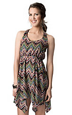 Vintage Havana® Women's Black with Multi Tribal Print Racer Back Sleeveless Dress