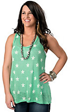 Vintage Havana® Women's Mint Green Star Heavy Woven Knit Fashion Top Tank