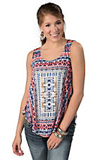 Vintage Havana® Women's Blue, Pink & Cream Tribal Print Tank